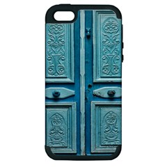 Turquoise Oriental Old Door Apple iPhone 5 Hardshell Case (PC+Silicone)