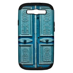 Turquoise Oriental Old Door Samsung Galaxy S III Hardshell Case (PC+Silicone)