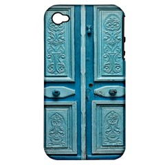 Turquoise Oriental Old Door Apple Iphone 4/4s Hardshell Case (pc+silicone)
