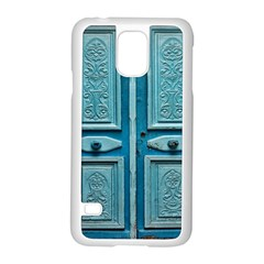 Turquoise Oriental Old Door Samsung Galaxy S5 Case (white)