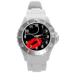 Greetings From Paris Red Lipstick Kiss Black Postcard Round Plastic Sport Watch (L)