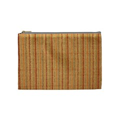Elegant Striped Linen Texture Cosmetic Bag (medium)