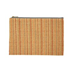 Elegant Striped Linen Texture Cosmetic Bag (large)