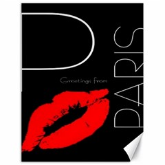 Greetings From Paris Red Lipstick Kiss Black Postcard Canvas 18  x 24