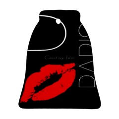 Greetings From Paris Red Lipstick Kiss Black Postcard Ornament (Bell)