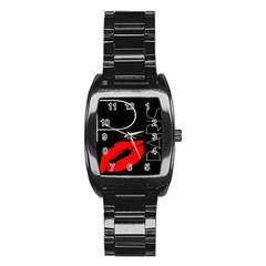 Greetings From Paris Red Lipstick Kiss Black Postcard Stainless Steel Barrel Watch