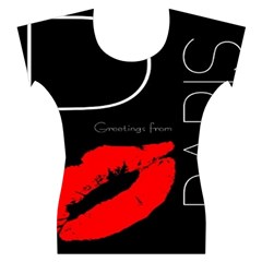 Greetings From Paris Red Lipstick Kiss Black Postcard Women s Cap Sleeve Top