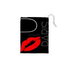 Greetings From Paris Red Lipstick Kiss Black Postcard Drawstring Pouches (XS)