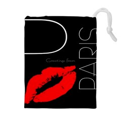 Greetings From Paris Red Lipstick Kiss Black Postcard Drawstring Pouches (Extra Large)