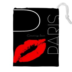 Greetings From Paris Red Lipstick Kiss Black Postcard Drawstring Pouches (XXL)
