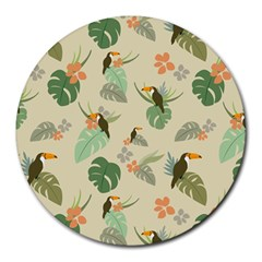 Tropical Garden Pattern Round Mousepads