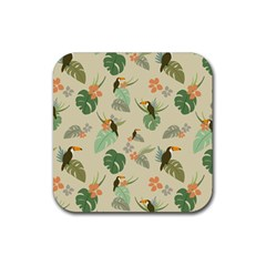 Tropical Garden Pattern Rubber Square Coaster (4 Pack)