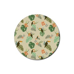 Tropical Garden Pattern Rubber Coaster (round)