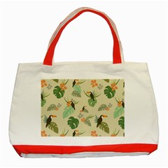 Tropical Garden Pattern Classic Tote Bag (red)