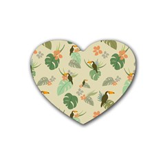 Tropical Garden Pattern Rubber Coaster (heart)