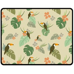 Tropical Garden Pattern Fleece Blanket (Medium)