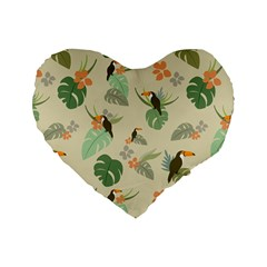 Tropical Garden Pattern Standard 16  Premium Heart Shape Cushions