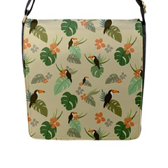 Tropical Garden Pattern Flap Messenger Bag (l)