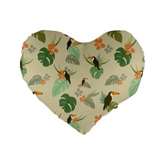Tropical Garden Pattern Standard 16  Premium Flano Heart Shape Cushions