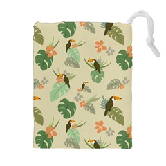 Tropical Garden Pattern Drawstring Pouches (Extra Large)