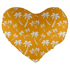 Summer Palm Tree Pattern Large 19  Premium Flano Heart Shape Cushions