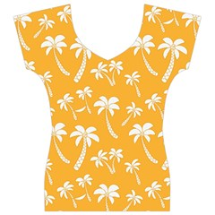 Summer Palm Tree Pattern Women s V-Neck Cap Sleeve Top