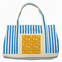 Summer Palm Tree Pattern Striped Blue Tote Bag