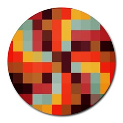 Tiled Colorful Background Round Mousepads