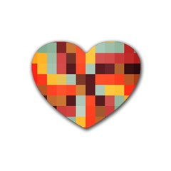 Tiled Colorful Background Rubber Coaster (heart)
