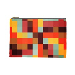 Tiled Colorful Background Cosmetic Bag (large)