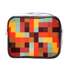 Tiled Colorful Background Mini Toiletries Bags