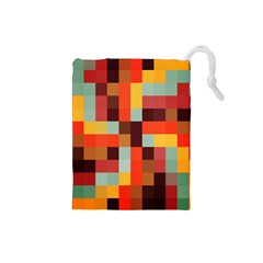 Tiled Colorful Background Drawstring Pouches (Small)