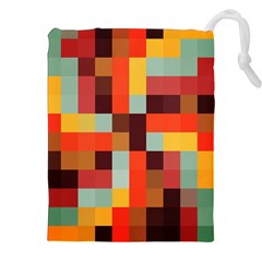 Tiled Colorful Background Drawstring Pouches (xxl)