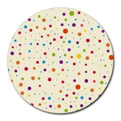 Colorful Dots Pattern Round Mousepads