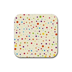 Colorful Dots Pattern Rubber Coaster (square)