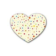 Colorful Dots Pattern Rubber Coaster (heart)