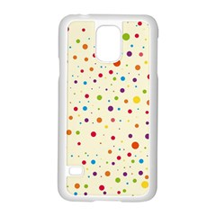 Colorful Dots Pattern Samsung Galaxy S5 Case (White)