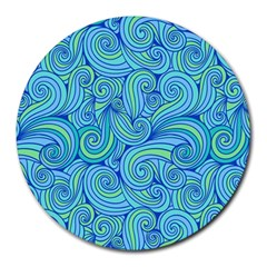 Abstract Blue Wave Pattern Round Mousepads