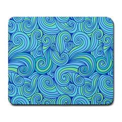 Abstract Blue Wave Pattern Large Mousepads