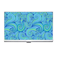 Abstract Blue Wave Pattern Business Card Holders