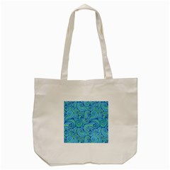 Abstract Blue Wave Pattern Tote Bag (cream)