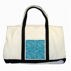 Abstract Blue Wave Pattern Two Tone Tote Bag