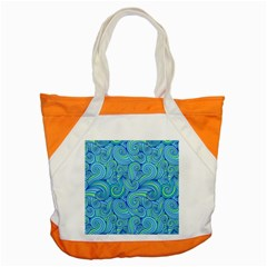 Abstract Blue Wave Pattern Accent Tote Bag
