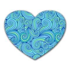 Abstract Blue Wave Pattern Heart Mousepads