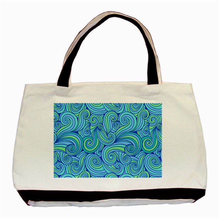 Abstract Blue Wave Pattern Basic Tote Bag (Two Sides)
