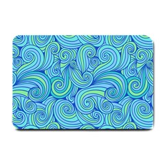 Abstract Blue Wave Pattern Small Doormat