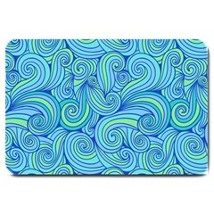 Abstract Blue Wave Pattern Large Doormat