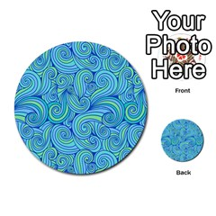 Abstract Blue Wave Pattern Multi Purpose Cards (round)