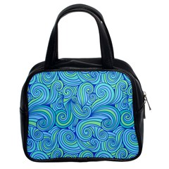 Abstract Blue Wave Pattern Classic Handbags (2 Sides)