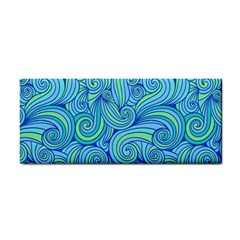 Abstract Blue Wave Pattern Hand Towel